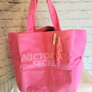 Victoria's Secret Terry Cloth Pink Tote Bag Large